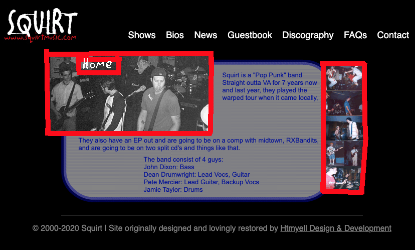 Squirtmusic.com's 2000 era website